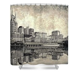Shower Curtain featuring the mixed media Nashville Skyline II by Janet King