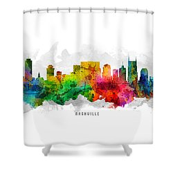 Nashville Tennessee Cityscape 12 Shower Curtain by Aged Pixel