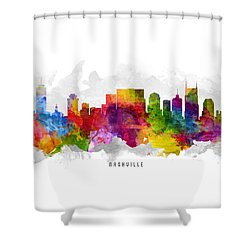 Nashville Tennessee Cityscape 13 Shower Curtain by Aged Pixel