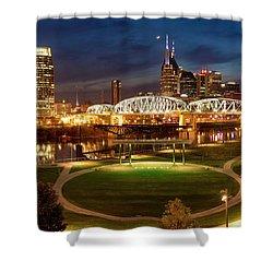 Shower Curtain featuring the photograph Nashville Twilight Skyline by Brian Jannsen