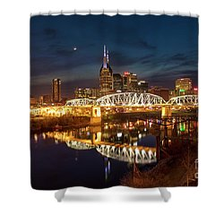 Shower Curtain featuring the photograph Nashville Twilight Skyline II by Brian Jannsen