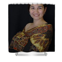 Nasiba. Girl And Her Pearls Shower Curtain