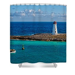 Nassau Harbor Lighthouse Shower Curtain by Christopher Holmes