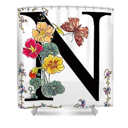 Nasturtium And Nettle-tree Butterfly Shower Curtain