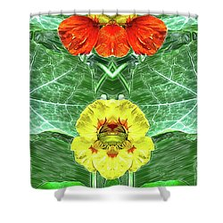 Nasturtium Mirror Image Pareidolia Shower Curtain