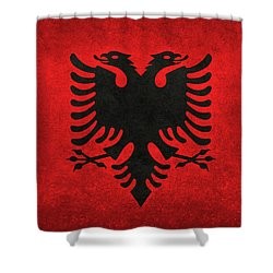 Shower Curtain featuring the digital art National Flag Of Albania With Distressed Vintage Treatment  by Bruce Stanfield