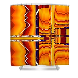 Shower Curtain featuring the digital art Native Abstract by Fran Riley
