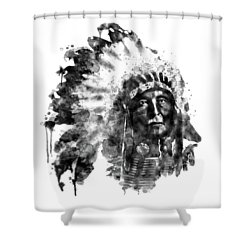 Shower Curtain featuring the mixed media Native American Chief Black And White by Marian Voicu