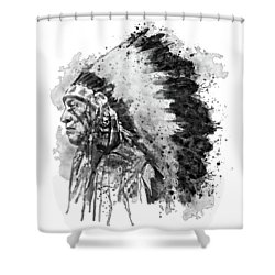 Shower Curtain featuring the mixed media Native American Chief Side Face Black And White by Marian Voicu
