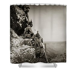 Native American Crow Men On Rock Ledge Shower Curtain by Jennifer Rondinelli Reilly - Fine Art Photography