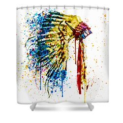Native American Feather Headdress   Shower Curtain