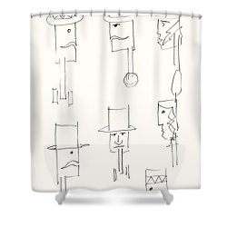 Native American Figures Shower Curtain by Charles Stuart