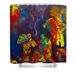 Shower Curtain featuring the painting Native American Fire Spirits by Claire Bull