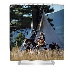 Native American In Full Headdress In Front Of Teepee Shower Curtain by Nadja Rider