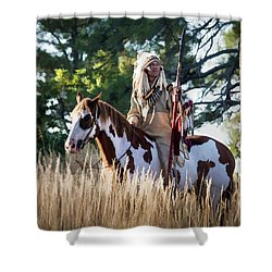 Native American In Full Headdress On A Paint Horse Shower Curtain by Nadja Rider