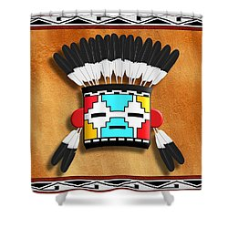 Native American Indian Kachina Mask Shower Curtain by John Wills