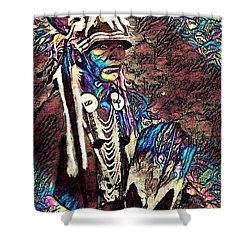 Plains Indian Warrior With Buffalo Headdress In The Trees Shower Curtain