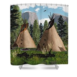 Native American Mountain Tepees Shower Curtain