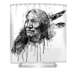 Shower Curtain featuring the mixed media Native American Portrait Black And White by Marian Voicu