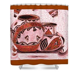 Shower Curtain featuring the painting Native American Pottery Mosaic by Paula Ayers