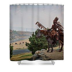 Native American Sculpture Shower Curtain