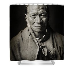 Native American Taos Indian White Clay Shower Curtain by Jennifer Rondinelli Reilly - Fine Art Photography