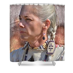 Native American Woman Shower Curtain by Kathy Baccari