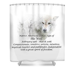 Native American Zodiac Sign Of The Wolf Shower Curtain
