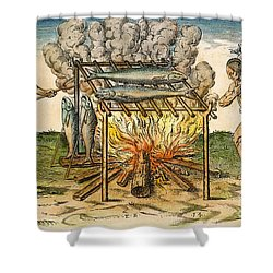 Native Americans: Barbecue, 1590 Shower Curtain by Granger