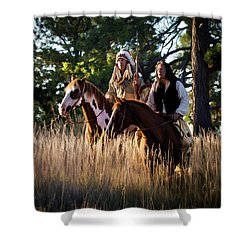 Native Americans On Horses In The Morning Light Shower Curtain by Nadja Rider