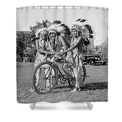 Native Americans With Bicycle Shower Curtain