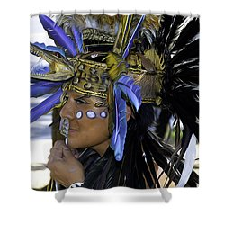 Native Blue Shower Curtain