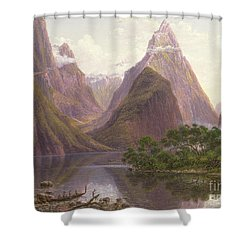 Native Figures In A Canoe At Milford Sound Shower Curtain by Eugen von Guerard