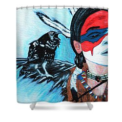Shower Curtain featuring the painting Native Raven by Ayasha Loya
