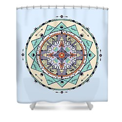 Native Symbols Mandala Shower Curtain by Deborah Smith