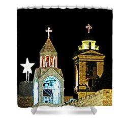 Shower Curtain featuring the photograph Nativity Church Lights by Munir Alawi