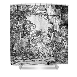 Nativity Shower Curtain by Rembrandt