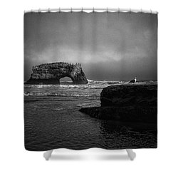 Shower Curtain featuring the photograph Natural Bridge And The Gull by Lora Lee Chapman
