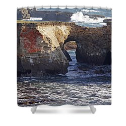Natural Bridge At Point Arena Shower Curtain by Mick Anderson