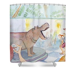 Natural History Hippo Shower Curtain