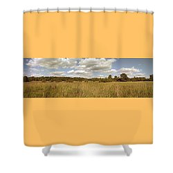 Natural Meadow Landscape Panorama. Shower Curtain