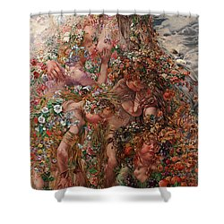 Shower Curtain featuring the painting Nature Or Abundance by Leon Frederic