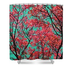 Shower Curtain featuring the photograph Natures Magic - Fire Red by Rebecca Harman