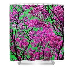 Shower Curtain featuring the photograph Natures Magic - Pink And Green by Rebecca Harman