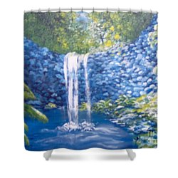Shower Curtain featuring the painting Nature's Pool by Saundra Johnson
