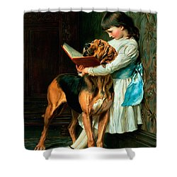 Naughty Boy Or Compulsory Education Shower Curtain by Briton Riviere