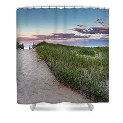 Nauset Beach Sunset Shower Curtain by Bill Wakeley