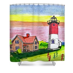 Nauset Point Lighthouse Shower Curtain
