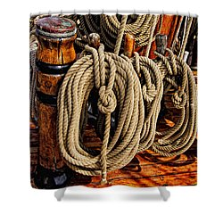 Shower Curtain featuring the photograph Nautical Knots 17 Oil by Mark Myhaver