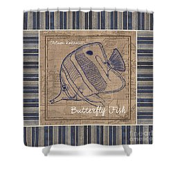 Nautical Stripes Butterfly Fish Shower Curtain